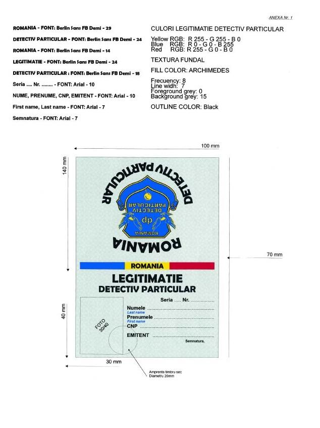 Ordinul 492 din 3 februarie 2005 privind modul de eliberare, forma si continutul legitimatiei de detectiv particular (1)
